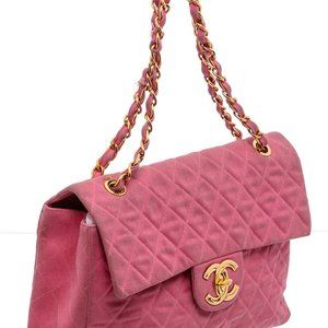Chanel Pink Quilted Canvas Classic Jumbo XL Bag